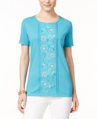 Alfred Dunner Floral Embroidered Short Sleeve Top Turquoise