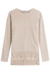 Steffen Schraut Cashmere Pullover With High Low Hemline Beige