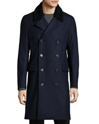 Theory Kenri Voedar Double Breasted Coat With Shearling Fur Collar Navy