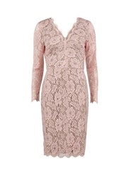 Gina Bacconi Lace Dress With V Neck And Long Sleeves Fuchsia
