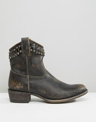Frye Diana Cut Stud Short Western Leather Ankle Boots Black Stonewash