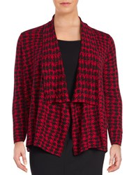 Nipon Boutique Plus Houndstooth Flyaway Cardigan Fire Red