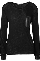 Maje Leather Trimmed Cotton And Wool Blend T Shirt Black