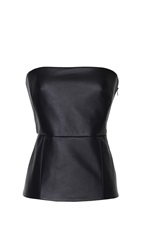 Tibi Leather Strapless Bustier