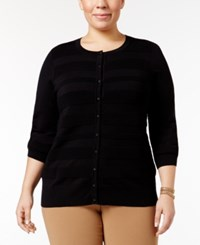 Charter Club Plus Size Striped Cardigan Only At Macy's Deep Black