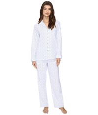 Eileen West Notch Collar Pajama Blue Geo Women's Pajama Sets