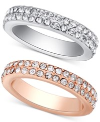 Guess Two Tone 2 Pc. Set Stackable Pave Rings