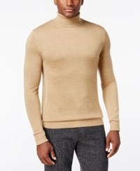 Vince Camuto Ribbed Wool Turtleneck Sweater Camel