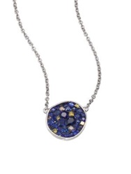 Plev Deep Ocean Multicolor Sapphire Diamond And 18K White Gold Pebble Pendant Necklace Gold Blue