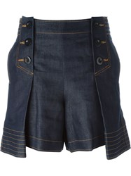 Sacai Pleated Denim Shorts Blue