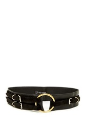 Jj Winters Karson Italian Leather 3 Buckle Ring Belt Black