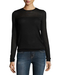 Minnie Rose Crewneck Sheer Striped Pullover Sweater Black