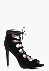Boohoo Lace Up Peep Toe Gladiator Heels Black
