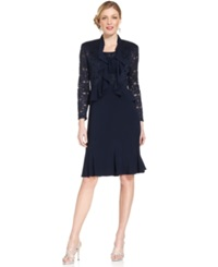 R And M Richards Sleeveless Sparkle Ruffle Dress And Jacket