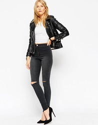 Asos Rivington High Waist Denim Jeggings In Severn Charcoal With Displaced Knee Rips Severncharcoal