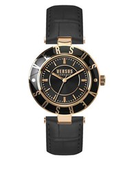 Versus By Versace Logo Goldtone Stainless Steel Black Leather Strap Watch Sp8160015