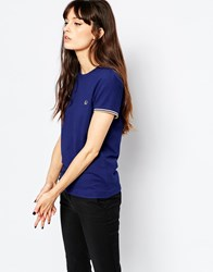 Fred Perry Pique Ringer T Shirt Navy