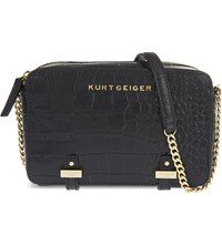 Kurt Geiger Abbey Croc Embossed Leather Cross Body Bag Black