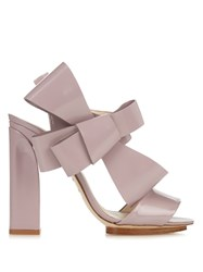 Delpozo Patent Leather Bow Embellished High Heel Sandals Light Pink