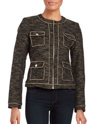 Karl Lagerfeld Tweed Zip Front Blazer Black