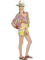 Etro Printed Silk Chiffon Caftan Dress Yellow Pink