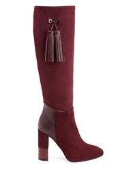 Aquatalia By Marvin K Evelina Suede And Leather Knee High Boots Oxblood Red