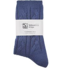 Johnstons Cable Knit Cashmere Socks Provence