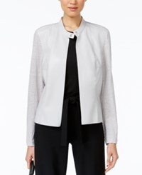 Alfani Mixed Media Faux Leather Jacket Only At Macy's New City Silver