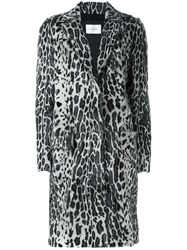 Yves Salomon Leopard Print Fur Coat Grey