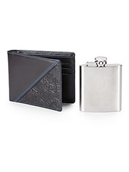 Robert Graham Stainless Steel Flask And Leather Slimfold Wallet Assorted