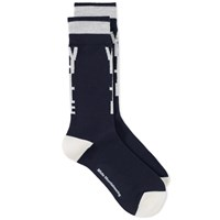 White Mountaineering Logo Middle Sock Blue