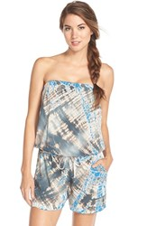 Women's Hard Tail Strapless Shelf Bra Romper Lizard Blue Grey Tan Tie Dye