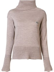 Vivienne Westwood Asymmetric Roll Neck Jumper Brown