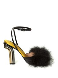 Marco De Vincenzo Feather Embellished Satin Sandals Black Multi