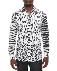 Moschino Animal Print Long Sleeve Woven Shirt Black