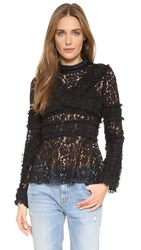 Anna Sui Embroidered Lace Top Black