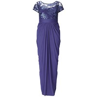Adrianna Papell Plus Size Embroidered Sequin Bodice Dress Blue Purple