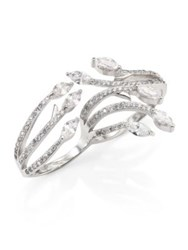 Fallon Monarch Crystal Double Ring Silver