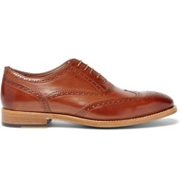 Paul Smith Cristo Burnished Leather Wingtip Brogues Brown