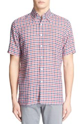 Men's Canali Regular Fit Dobby Check Linen Sport Shirt