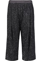 Brunello Cucinelli Sequined Silk Blend Culottes Dark Gray