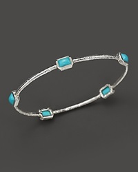 Ippolita Rock Candy Sterling Silver 5 Stone Bangle In Turquoise Blue