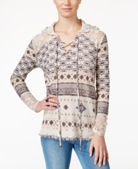 American Rag Printed Lace Inset Hoodie Only At Macy's Pale Pink