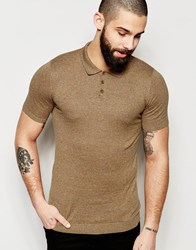 Asos Muscle Fit Knitted Polo Shirt In Mustard Twist Mustard Twist