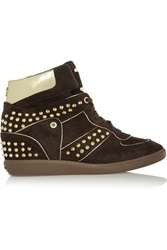 Michael Michael Kors Nikko Studded Suede High Top Sneakers Brown