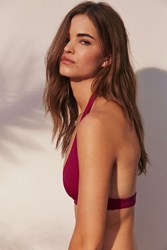 Out From Under Solid Halter Bikini Top Berry