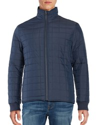Perry Ellis Reversible Quilted Puffer Jacket Dark Sapphire