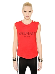 Balmain Sleeveless Logo Printed Cotton T Shirt Red
