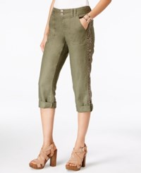 Inc International Concepts Petite Linen Embellished Cargo Pants Only At Macy's Olive Drab