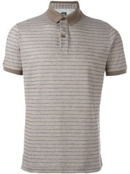Eleventy Striped Polo Shirt Brown